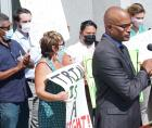 San Francisco Public Defender Manohar Raju speaks to a rally for the right to a speedy trial