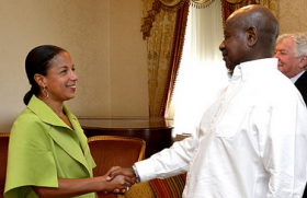 U.S. National Security Advisor Susan Rice greets Ugandan President Yoweri Museveni in New York City on May 5, 2015.