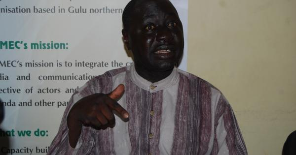 Okumu Reagan addressing the Press at NUMEC Media Centre in Gulu Uganda