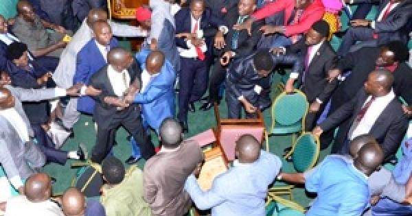 Raw: All-in brawl breaks out in Uganda's Parliament during debate