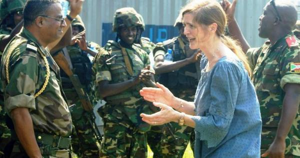 Samantha Power with U.S.-trained Burundian soldiers flown into the CAR on U.S. military aircraft.