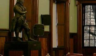 delay in removing a statue of Thomas Jefferson from inside the City Council Chamber.