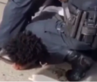 Dylan Cannon shown above with the knee of a state-sponsored brutalizer, in Louisiana, on his Black neck.