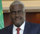 African Union's Moussa Faki Mahamat (above)--seen as serving French neocolonial interests in Africa.