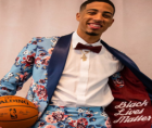 During the virtual NBA Draft, Tyrese Haliburton's flashy suit sported the Black Lives Matter phrase.