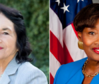 Civil rights icon and labor leader Dolores Huerta and Sen. Andrea Stewart-Cousins