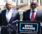 Abner Louima, (above right) endorsed Brooklyn Borough President (and former NYPD officer) Eric Adams Tuesday.