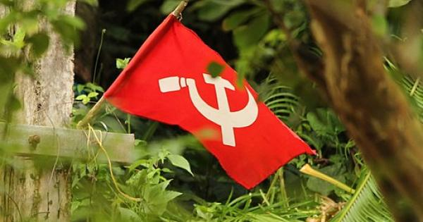 Pictured: A Communist Hammer and Sickle Flag