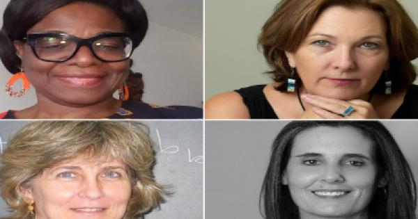 Clockwise, from top right, Lehman College Professors of Excellence Victoria Sanford, Alyshia Gálvez, Dimitra Karabali and Bertra