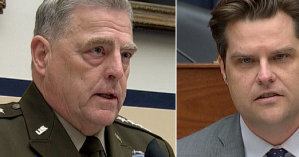Today, Gen. Mark Milley (left) schooled GOP jackass jerks like Rep. Matt Gaetz (right) on critical race theory and white rage.
