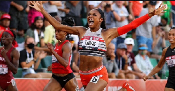 Two hundred meters is twice as tall as the Statue of Liberty. That's the distance that separates Gabby Thomas from an Olympic me