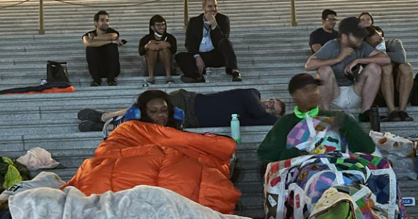 Missouri Congresswoman Cori Bush (shown above left sleeping with homeless advocates outside Congress on Friday night) sent a let