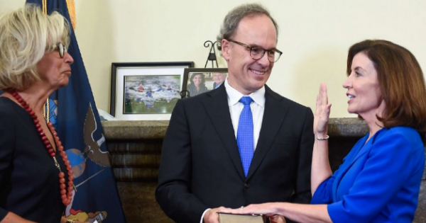 Kathy Hochul became the 57th, and first female, governor of New York today after being sworn in just past midnight