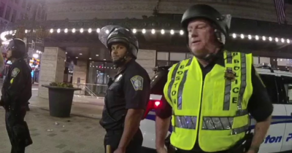 police in Boston and Worcester used excessive force—including pushing and tackling—while arbitrarily arresting protesters withou