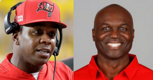 Byron Leftwich (above left) and Todd Bowles, (above right) the Buccaneers' offensive and defensive coordinators