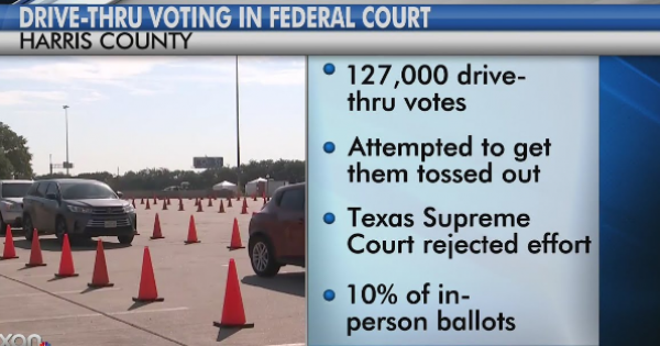 attack on drive-through voting in Harris County is still underway.