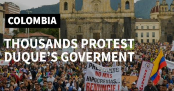 Anti-government, anti-police repression protests have rocked the South American nation of Columbia for the past two weeks.