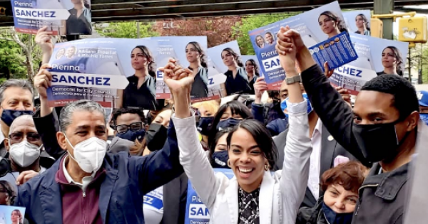 On Saturday, Pierina Sanchez (above middle) was joined by some of her many supporters