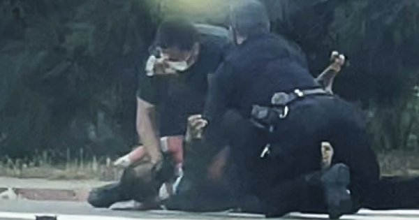 San Diego Police shown above beating up homeless Black man allegedly for the crime of urinating while Black.