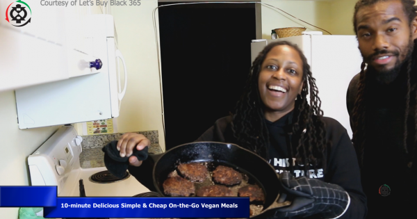 Connect by Let's Buy Black 365 on set picture with Host Nataki Kambon and co-host Taalib Saber cooking a quick delicious vegan meal